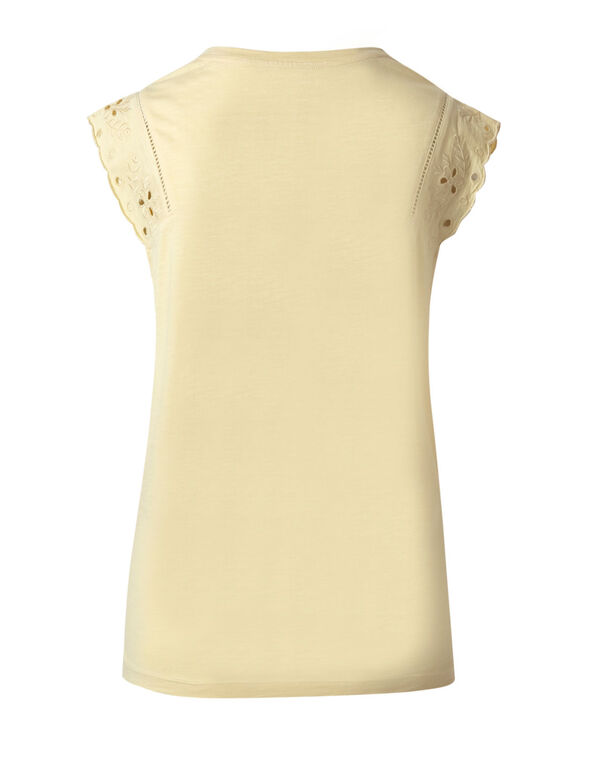 Butter Eyelet Cap Sleeve Cotton Tee, Butter, hi-res