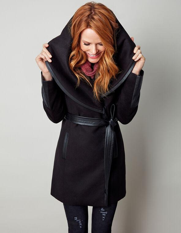 Black Wrap Faux Wool Coat, Black, hi-res
