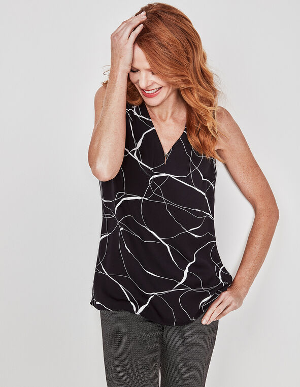 Black Printed Shell Blouse, Black, hi-res