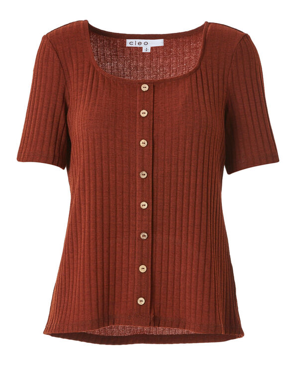 Wood Button Top, Brown, hi-res