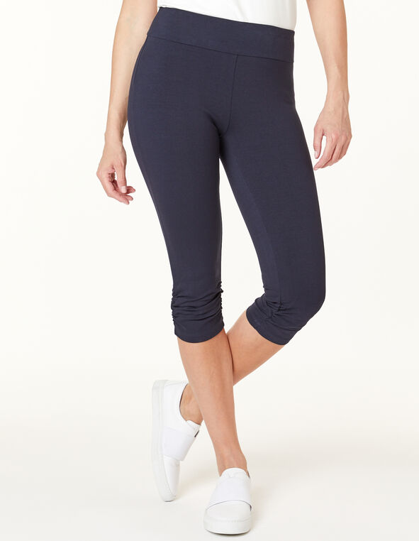 Navy Ruched Capri Legging, Navy, hi-res