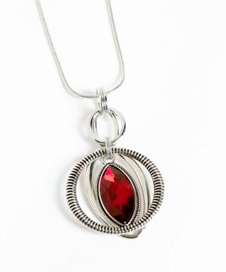 Silver & Ruby Red Pendant Necklace, Silver/Red, hi-res
