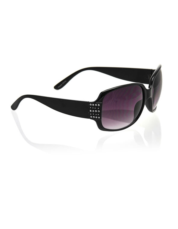 Black Rectangular Frame Sunglasses, Black, hi-res