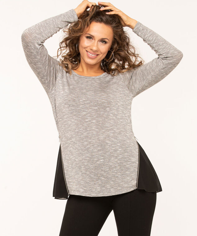 Grey Hacchi Chiffon Insert Top, Light Heather Grey/Black, hi-res