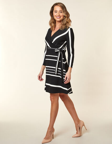 Black Textured Fit & Flare Dress, Black, hi-res