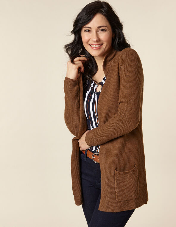 Rust Rib Knit Open Cardigan, Rust, hi-res