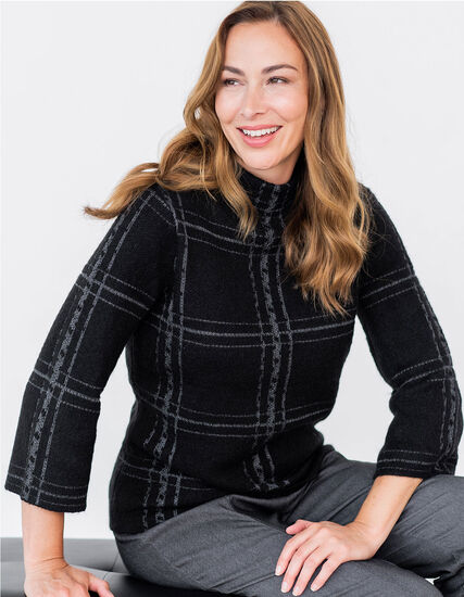 Black Lurex Plaid Sweater, Black, hi-res