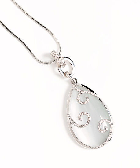 Crystal Cateye Long Necklace, Silver/White, hi-res