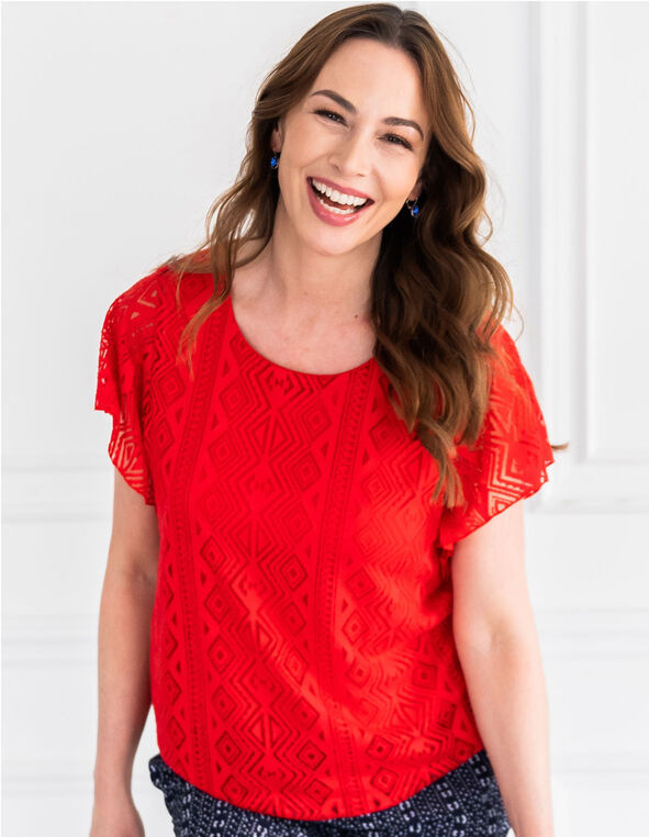 Red Burnout Printed Top, Red, hi-res