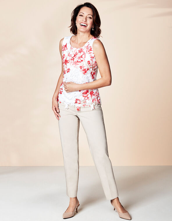 Ivory Printed Lace Top, Ivory/Coral, hi-res