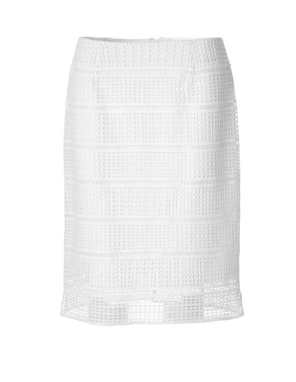 White Lace Skirt, White, hi-res