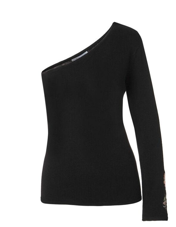 Black One Shoulder Sweater, Black, hi-res