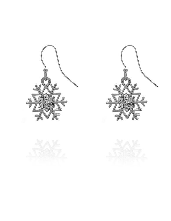 Silver Snowflake Earring, Silver, hi-res