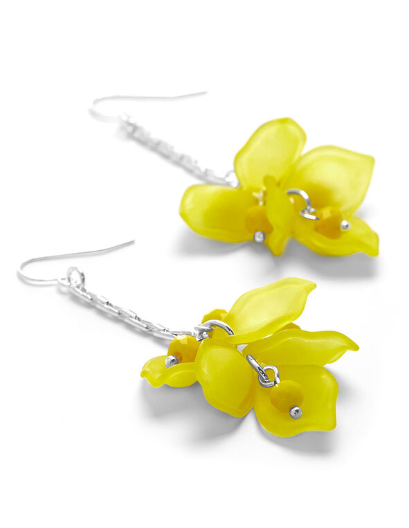 Yellow Floral Earring, Yellow, hi-res