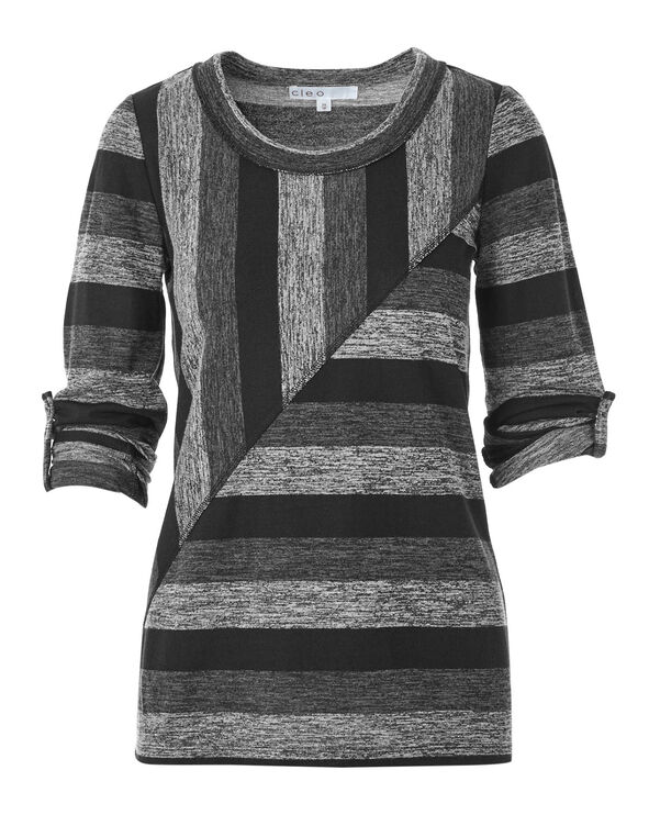 Grey Striped Hacchi Top, Grey/Black, hi-res