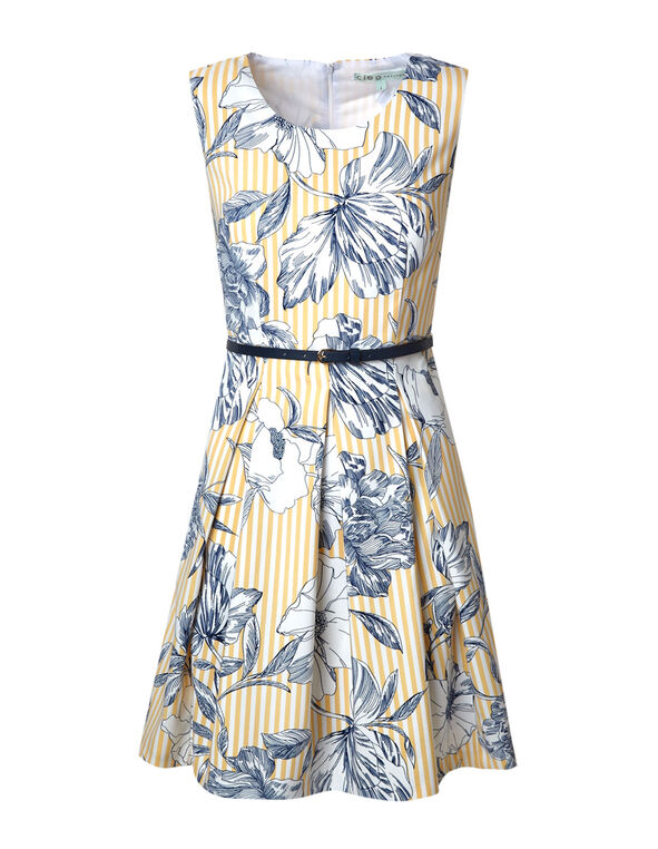 Yellow Floral Fit & Flare Dress, Yellow/Navy, hi-res