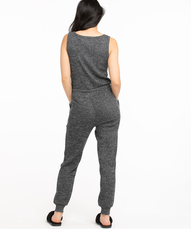Waffle Knit Jumpsuit, Black Mix