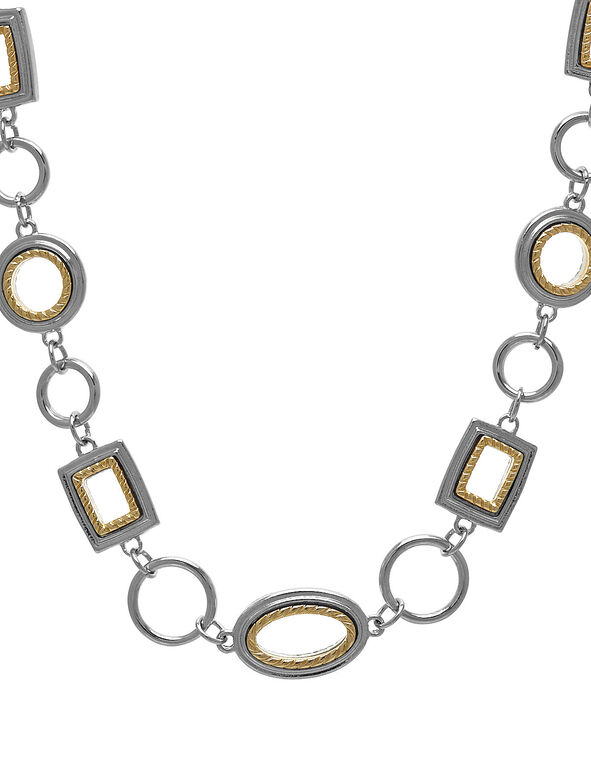 Silver & Gold Geo Short Necklace, Silver/Gold, hi-res
