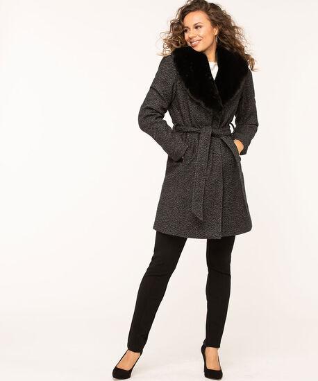 Charcoal Wool Blend Belted Coat, Charcoal Mix, hi-res
