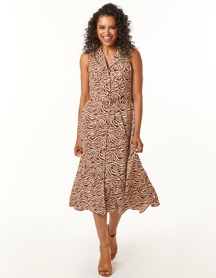 Neutral Animal Print Dress, Rust, hi-res