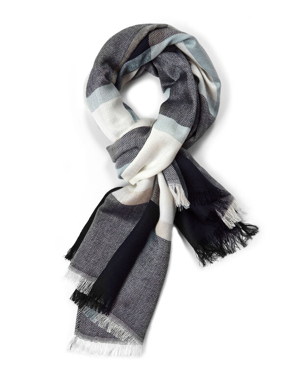 Blue Classic Plaid Oblong Scarf, Blue/Ivory, hi-res