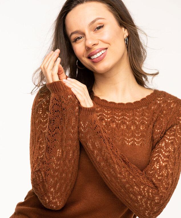 Copper Crochet Balloon Sleeve Sweater, Copper