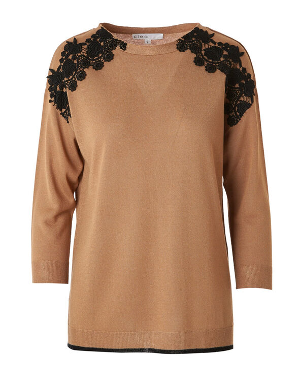Camel Lace Detail Sweater, Camel, hi-res