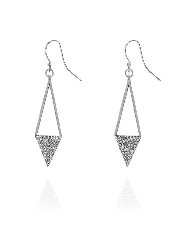Silver Diamond Drop Earring, Silver, hi-res