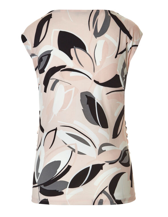 Pink Floral Abstract Shell Top, Pink/Ivory, hi-res
