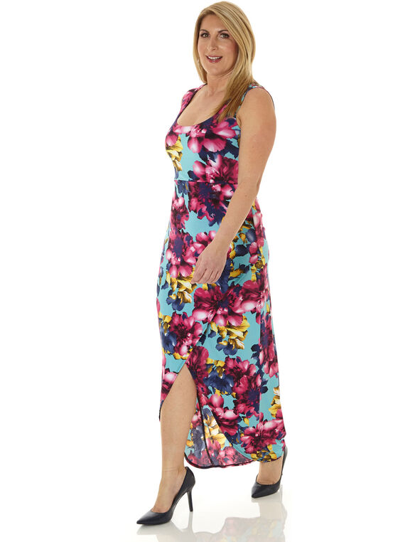Floral Maxi Dress, Turquoise, hi-res
