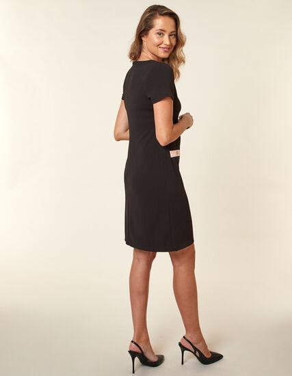 Black Scuba Crepe A-Line Dress, Black, hi-res