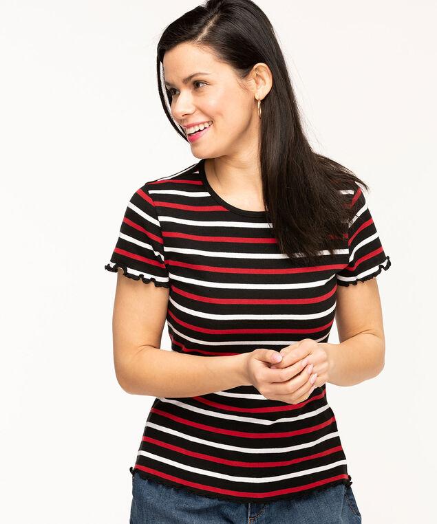 Lettuce Edge Short Sleeve Tee, Black/Red/White Stripe