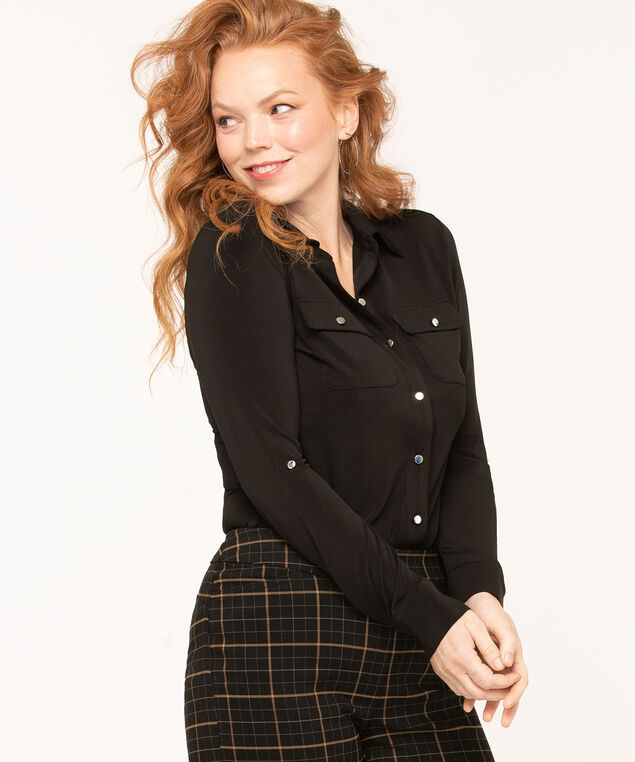 Collared Roll Tab Sleeve Top, Black, hi-res