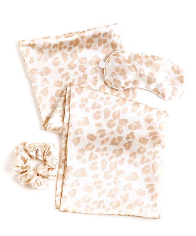 Satin Sleep Set, Beige Leopard