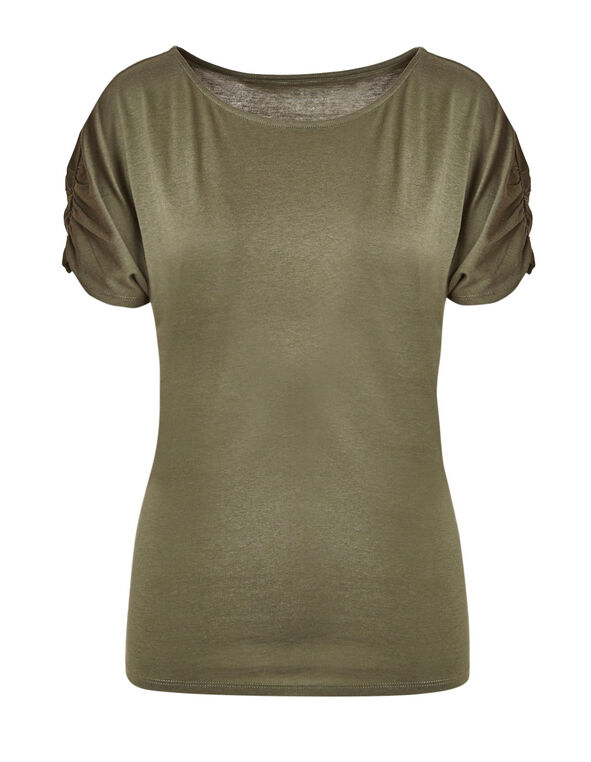 Summer Olive Shirred Detail Tee, Summer Olive, hi-res
