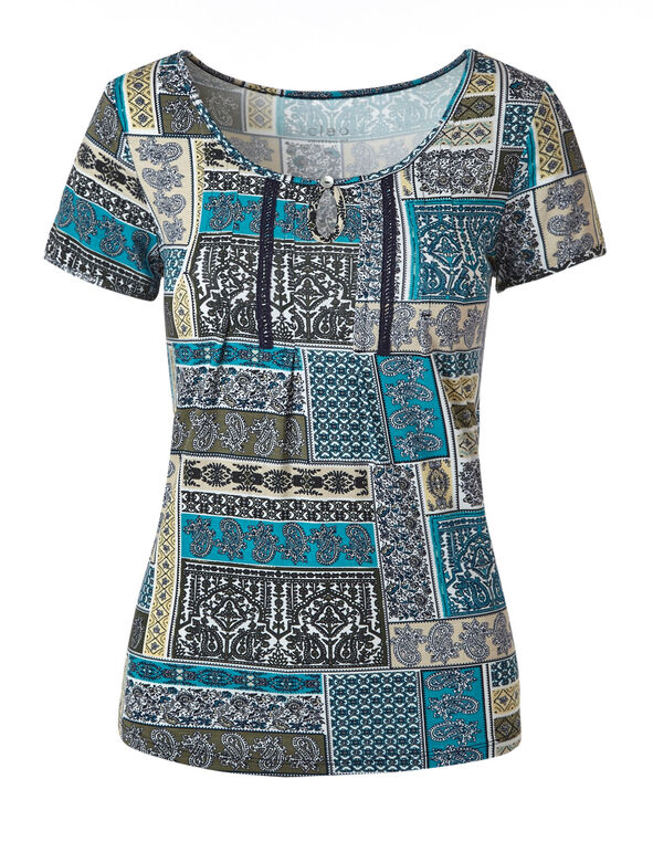 Turquoise Printed Tee, Neutral/Turquoise, hi-res