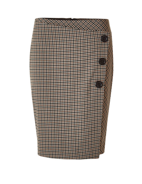 Brown Houndstooth Skirt, Brown, hi-res