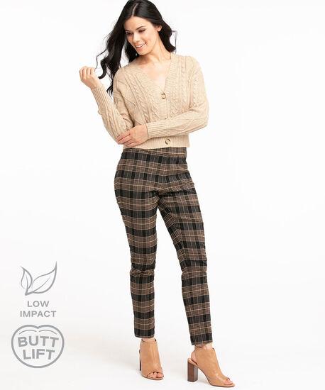 Low Impact Butt Lift Slim Pant, Walnut Plaid, hi-res