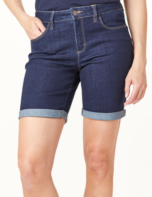 Dark Wash Jean Short, Navy, hi-res