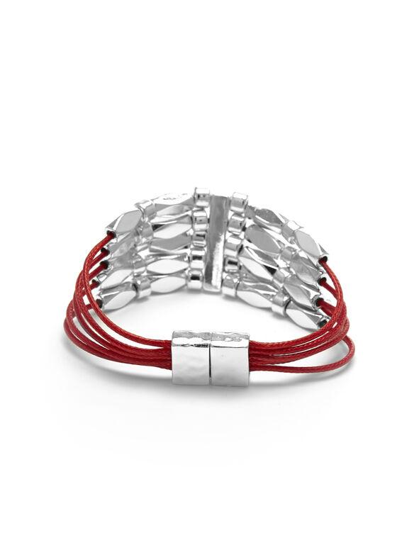 Red Cord Magnetic Bracelet, Red, hi-res