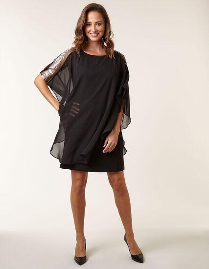 Black Chiffon Overlay Sheath Dress, Black, hi-res
