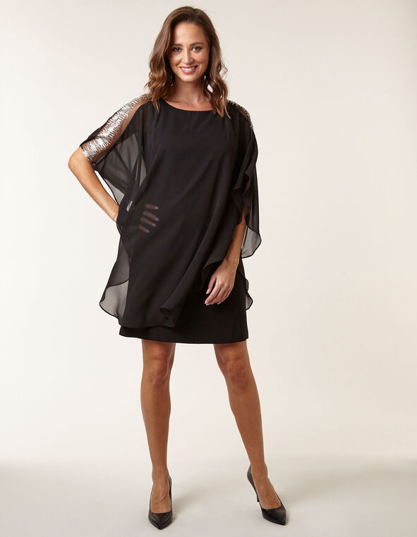 Black Chiffon Overlay Sheath Dress, Black, hi-res