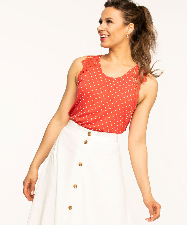 Sleeveless Lace Trim Knit Top, Coral Dot