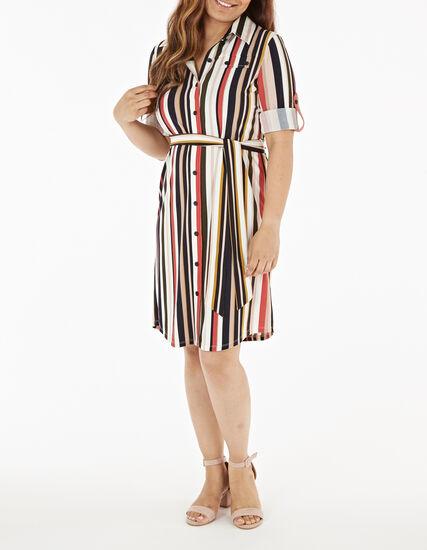 Two-Way Striped Shirt Dress, Multi, hi-res