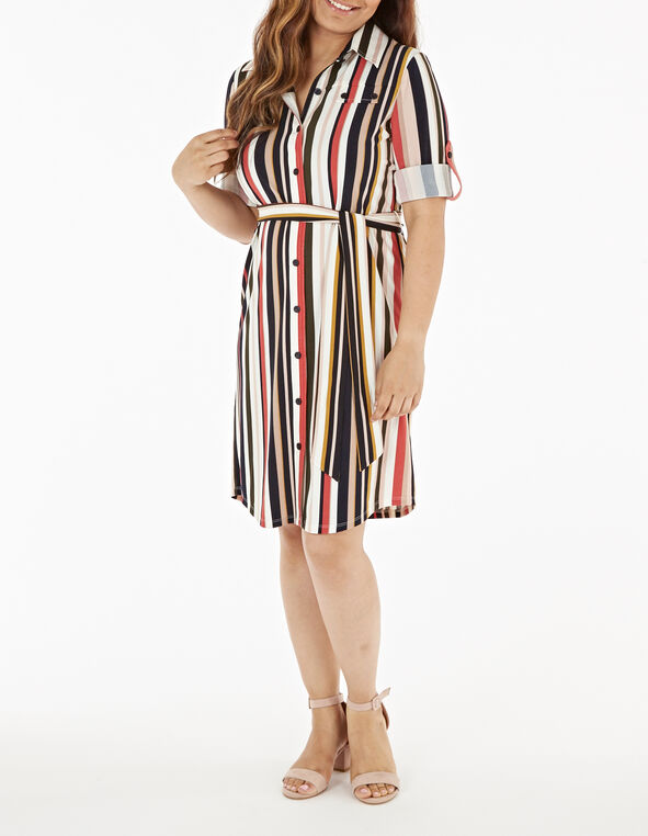 Two-Way Striped Shirt Dress, Multi, hi-res