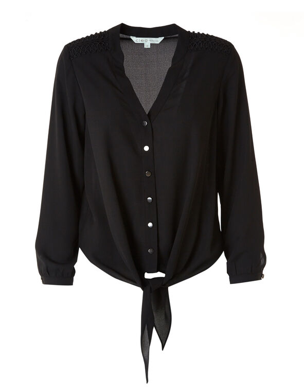Black Shoulder Detail Blouse, Black, hi-res