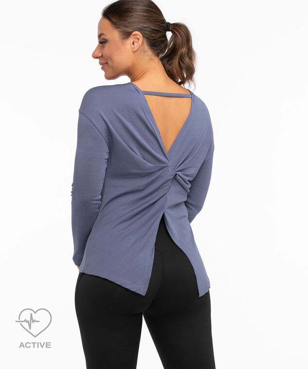 Twist Back Long Sleeve Active Top, Midnight Blue