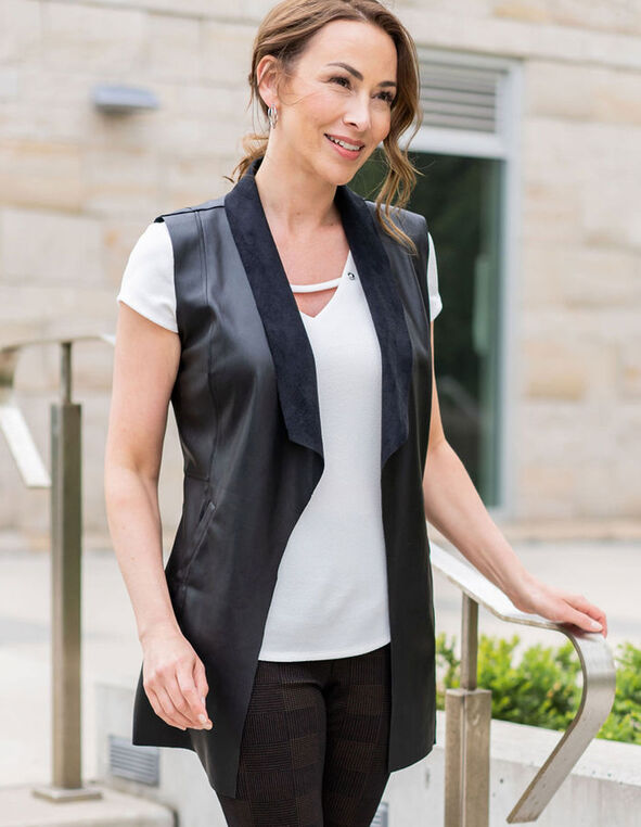 Black Faux Leather Vest, Black, hi-res