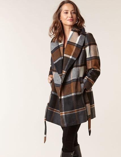 Brown Wool Blend Plaid Wrap Coat, Md Brown, hi-res