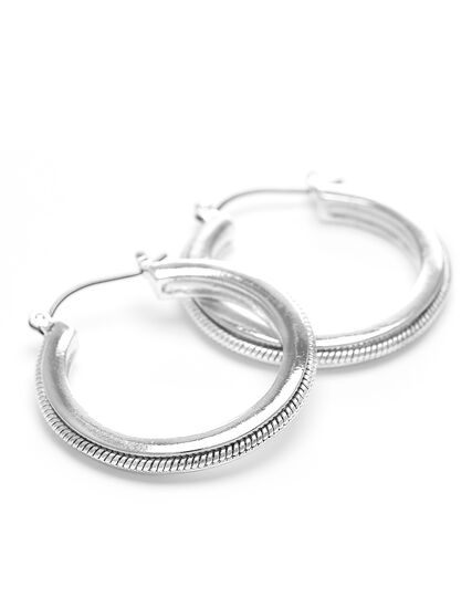Silver Snake Chain Hoop Earring, Silver, hi-res